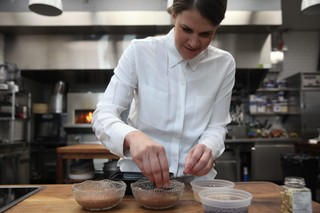 stephanie putting toppings on chocolate mousse