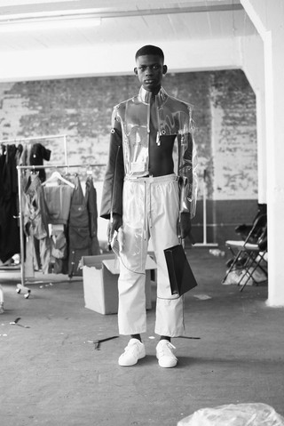 Model backstage at A-COLD-WALL* spring/summer 19 show