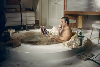 james bond drinking in bath