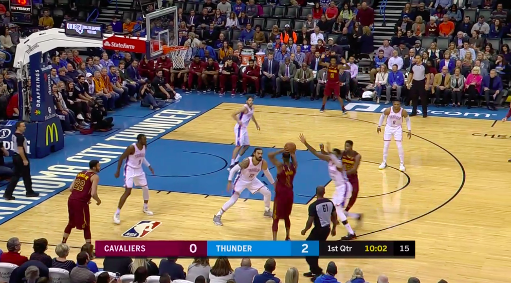 Alex Abrines is in the paint