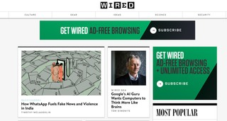 Screengrab of Wired website