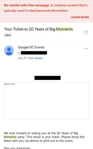 google s own email filters flag google s party invite as malicious