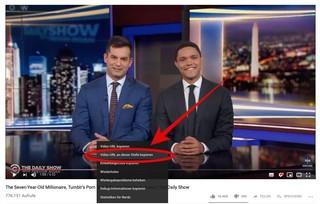 Screenshot: The Daily Show with Trevor Noah mit URL-Auswahl