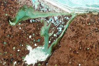 An example of Arctic lakes created by melting permafrost.