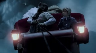 Santa, in his sleigh, being pursued by a fighter jet