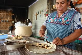 Im Textil-Workshop der Navarro Sisters werden auch Mole-Tacos mit Hühnchen zubereitet