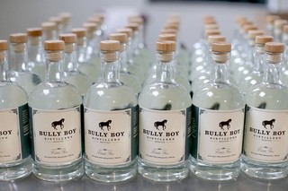 Bully Boy Distillers Estate Gin on the packaging line at the distillery in Boston. Photo by Boston Globe / Getty Images