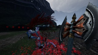 In crude polygons and pixels, a giant, ornate double-headed battle-axe is brandished from a first-person perspective while a shattered armored torso crumbles to the ground in a pool of blood.