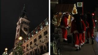 Hamburger Rathaus und Weihnachtsmänner