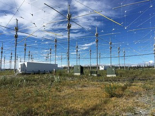 Antenna grid at HAARP in Alaska.
