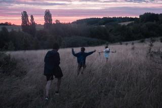 vrienden lopen door een veld in de avondzon, uit de fotoreeks Fuck Me van Josh Kern