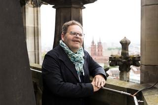 Günter Baum auf einem Kirchturm