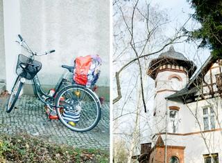 Ein vollgepacktes Fahrrad und eine Villa in Zehlendorf