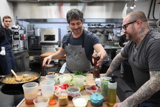 ken oringer and jamie bissonnette in the munchies test kitchen