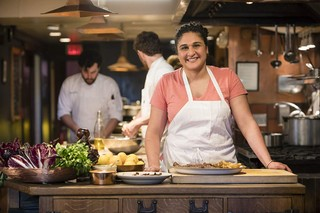 Samin Nosrat in the kitchen