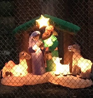 A close up of Bob Dylan's inflatable nativity