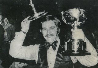 Cliff Thorburn celebrates after winning a snooker championship.