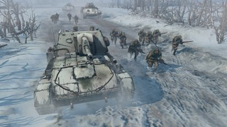 Russian troops advance in the snow