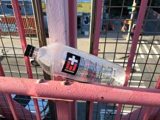 Empty bottle of Essentia water on the Williamsburg Bridge