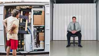 Guy with overflowing storage unit at left, versus gut with empty storage unit at right. Photos by Getty Images