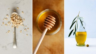 DIY face scrubs using oats, honey, and olive oil. Photos by Stocksy