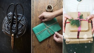 A pair of scissors, a gift wrapped in tissue paper, and a stack of gifts wrapped in brown paper. Photos by Stocksy