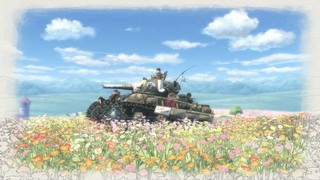 A tank sits alone in a field of flowers