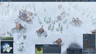 Snow falls on a cartoonish Viking village