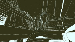 Two crewmen stare down a hatchway aboard the Obra Dinn