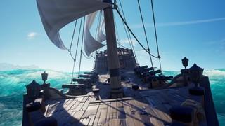 A tall ship rolls through the waves on a crystalline ocean