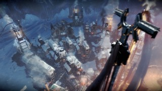 A snow-covered city in Frostpunk