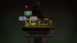 A group of characters hang out atop an old radio tower.