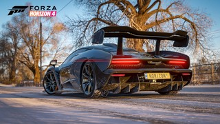 a snowy road and a sports car in Forza Horizon 4