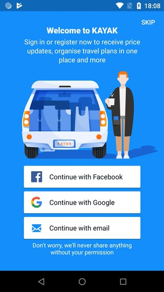 Ein Test-Video von Privacy International führt vor, wie die Kayak App auf Android-Smartphones kurz nach dem Log-In aussieht