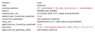 Ein Ausschnitt der Daten, über deren Übertragung an Facebook Privacy International in ihrem Bericht schreiben. In diesem Fall handelt es sich um die App Kayak.