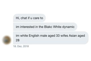 Screenshot einer Twitter-Nachricht, in der jemand über multiethnische Beziehungen spricht