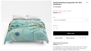 Society6 listing for a Composition VIII print comforter.