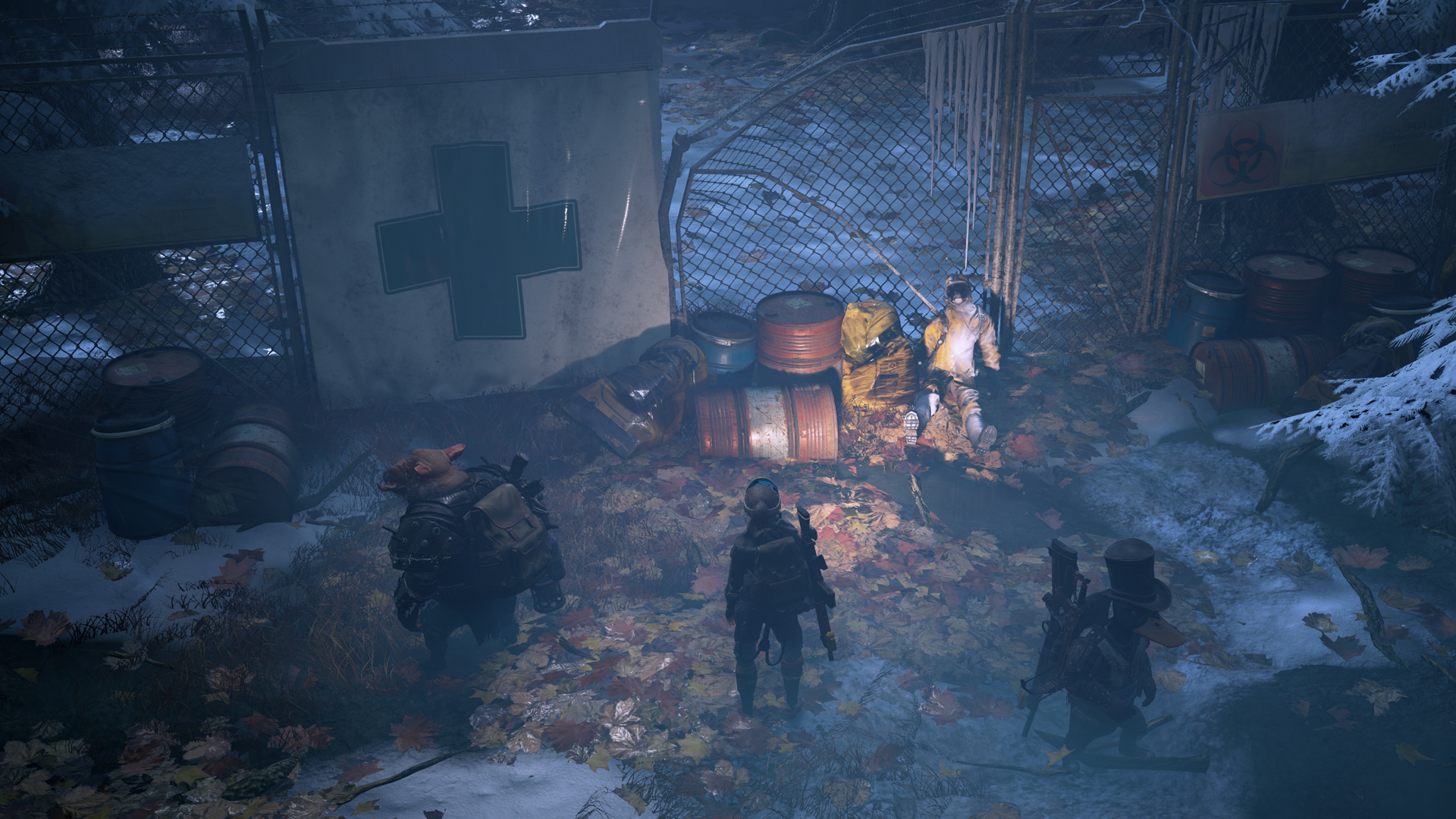 The scouts of Mutant Year Zero find an abandoned body in the post apocalyptic wastes.