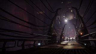 A long, dark corridor in a prison within Destiny 2