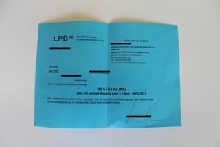 Bestätigung der Polizei für Sexarbeiter