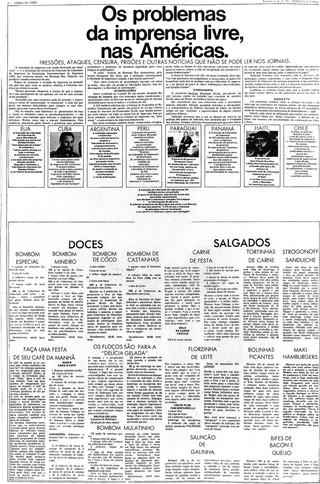 Eine Seite des Jornal da Tarde, auf der Rezepte für Bonbons und Häppchen statt politischer Nachrichten abgedruckt sind