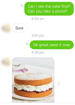 sponge cake message