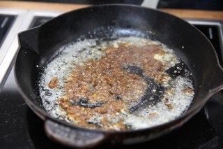 xo sauce cooking in butter with garlic