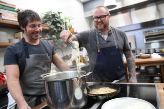 chefs jamie bissonnette and ken oringer making pici in the munchies test kitchen