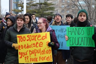 Protestors attend the rally at Queen's Park put on by Canadian Federation of Students-Ontario against Ford's tuition changes on Friday, January 18, 2019