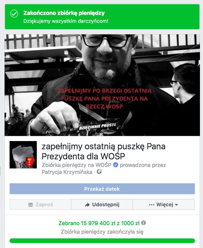 """Screen z internetowej akcji """"Zapełnijmy ostatnią puszkę Pana Prezydenta dla WOŚP"""" / Facebook"""