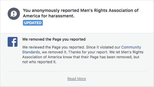Facebook removed a page less than a day after my friend reported it as hateful content.