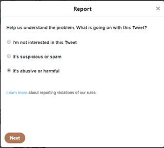 Reporting hate on Twitter