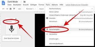 Screenshot: Spracheingabe bei Google Docs