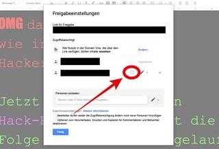 Screenshot: Freigabeeinstellungen bei Google Docs